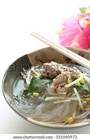 Asian food, Beef and harusame soup