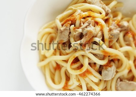 Asian food, chicken and sesame sauce Udon noodle