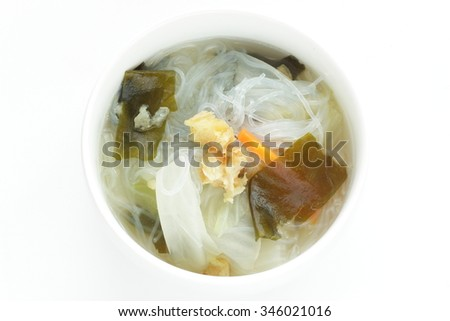 Asian food, pollack and glass noodles soup