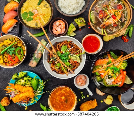 Asian food served on black stone stock photo 587404205 for Academy of oriental cuisine