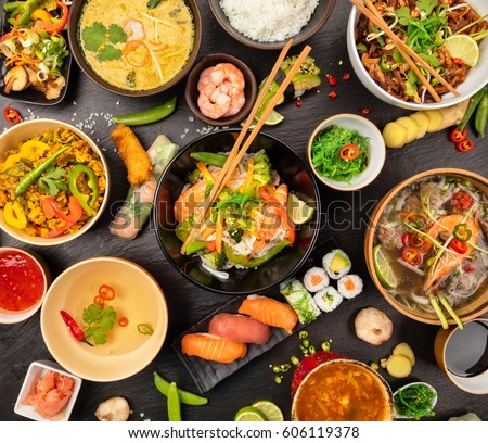 Asian food table various kind chinese stock photo for Piatto tipico cinese