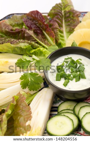 Asian food with sauce, cucumber, pineapples and salad. - stock photo