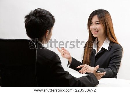 Asian girl are going to a job interview - stock photo