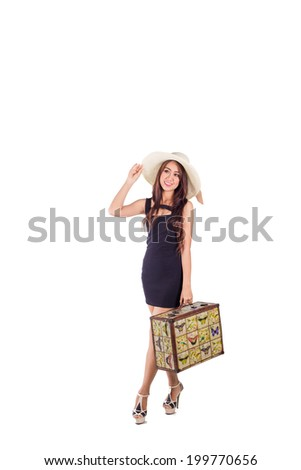 Asian girl goes on vacation with travel bag isolated on white, hand catch hat - stock photo
