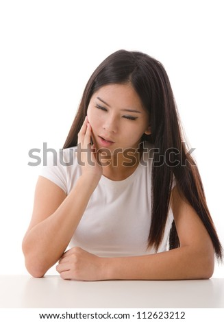 asian girl  having a depression, isolated on white