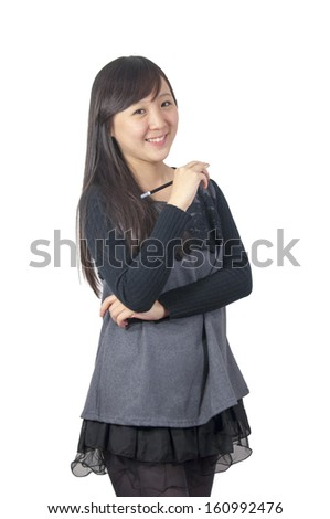 Asian girl holding a pencil
