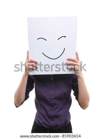 asian girl holding cardboard with doodle smile - stock photo