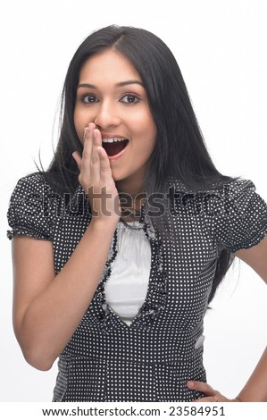 Asian girl in a surprised expression - stock photo