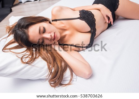 Asian girl in bikini on bed, girl on bed