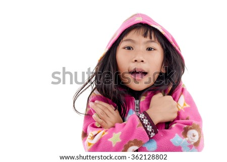 Asian girl in jacket with hood on white.