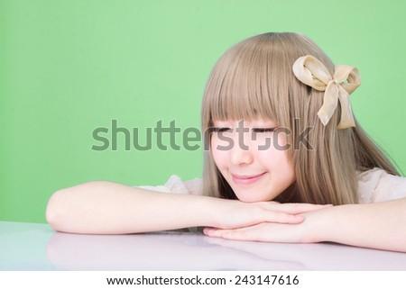asian girl make up fashion enjoy sleep - stock photo