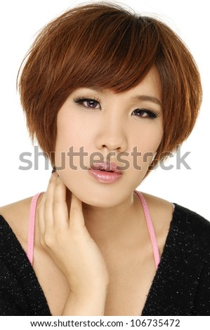 Asian girl on black shirt makes a shock face - stock photo