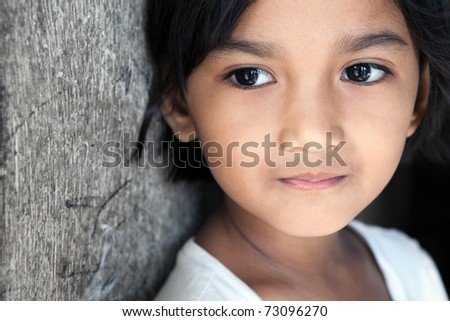 Asian girl portrait - looking to side. Manila, Philippines. - stock photo