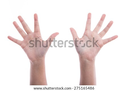 Asian girl's hands on white background isolated