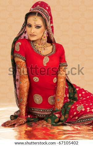 Asian Girl  Wedding Dress - stock photo