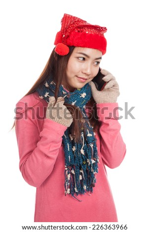 Asian girl with christmas hat get shy talk on mobile phone  isolated on white background