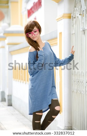 Asian girl with fashion dress outdoor