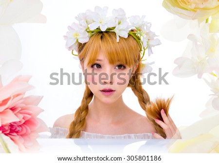 asian Girl with flowers spa make-up japanese style - stock photo