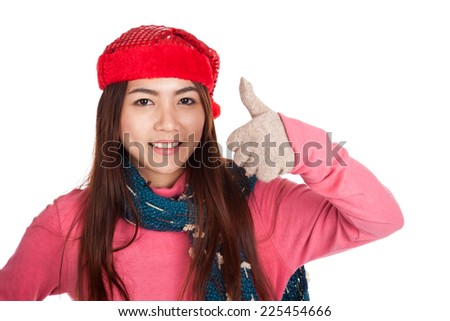 Asian girl with red christmas hat show thumbs up  isolated on white background