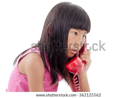 Asian girl with red retro phone, Isolated on white