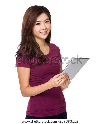 Asian girl with tablet isolate - stock photo