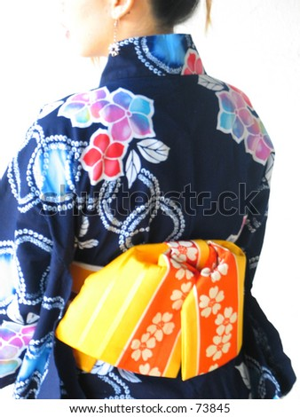 asian girl with yukata - stock photo