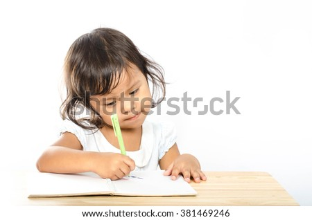 Asian Girl Write A Book On White Background