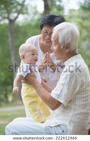 asian grandparents playing with baby grandson at outdoor - stock photo