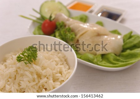Asian Hainanese Chicken rice - stock photo