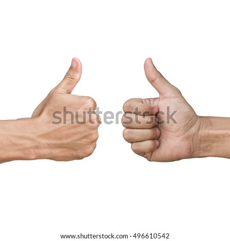 asian hand showing thumb up sign