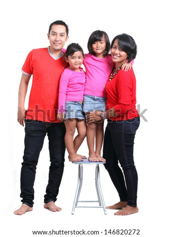 asian happy family on white background