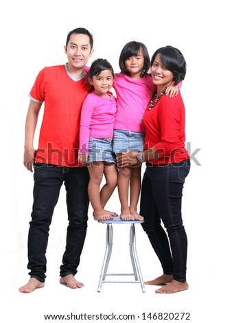 asian happy family on white background - stock photo