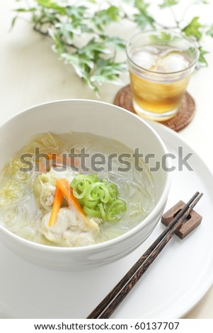Asian healthy food, rice noodles with chicken and vegetable