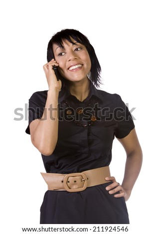 Asian - Hispanic Businesswoman Talking on the Cell Phone - Isolated Background - stock photo