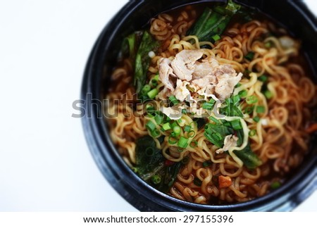 Asian hot pot noodle in diorama - stock photo