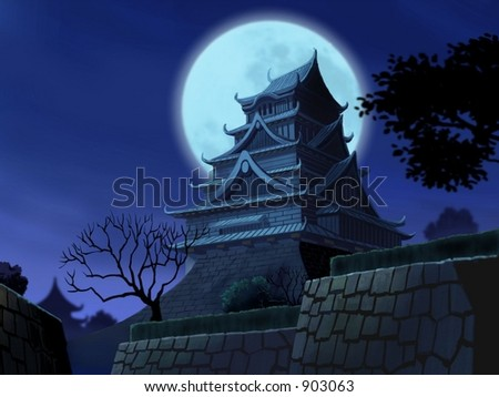 Asian House at Night