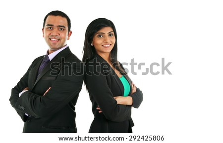 Asian Indian businessman and businesswoman in group standing with folded hands isolated on white with copy space. Successful Teamwork concept.  - stock photo