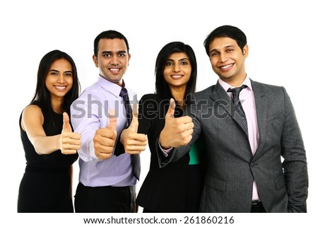 Asian Indian businessmen and businesswoman in group with thumbs up isolated on white. Successful Teamwork concept. - stock photo