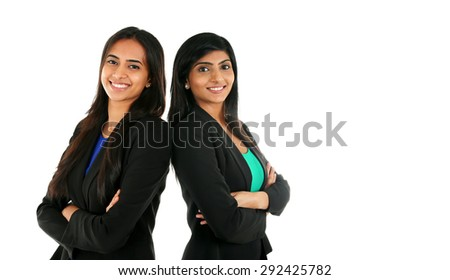 Asian Indian businesswoman in group standing with folded hands isolated on white with copy space. Successful Teamwork concept.