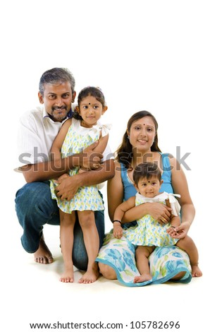 asian indian family with casual clothes - stock photo