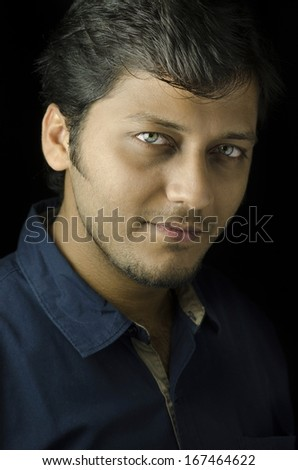 Asian indian male with attractive eyes - stock photo