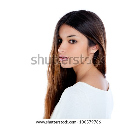 Asian indian profile girl brunette long hair portrait - stock photo