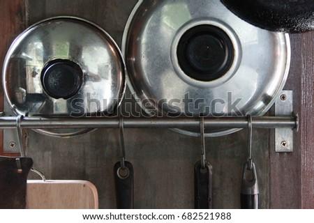 Asian Kitchen Equipmentkitchenware Hanging On Stainless Stock Photo ...