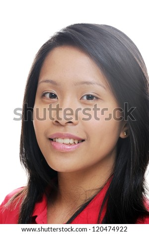 Asian lady looking happy and confident - stock photo