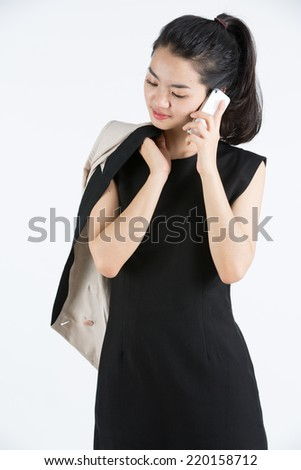 Asian lady using a mobilephone