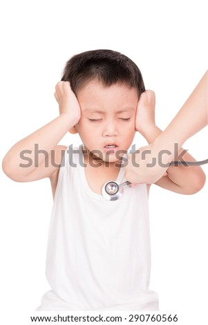 Asian Little boy having a headache isolated on white background - stock photo