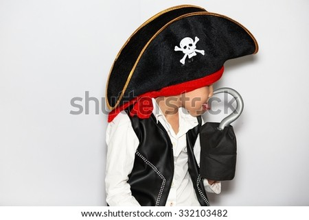 Asian little boy with pirate costume for halloween  - stock photo