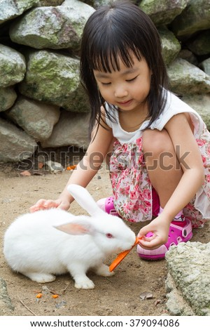 Asian Little Chinese Girl Feeding a Rabbit with Carrot in the Farm - stock photo