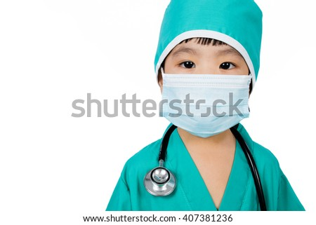 Asian Little Chinese Girl Playing a Doctor with Mask and Stethoscope  in isolated White Background - stock photo
