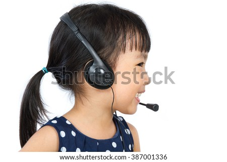 Asian Little Chinese Girl Wearing Headset isolated on White Background